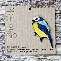 Bird Bluetit brooch, laser cut jewellery.