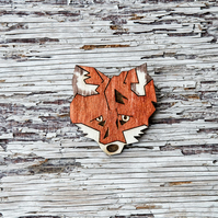 Fox brooch, laser cut, wooden jewellery.