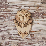 Owl brooch, grey, plywood, laser cut.