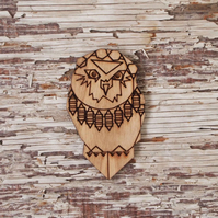 Curious Owl brooch, laser cut.