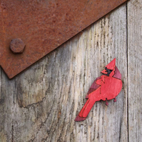Cardinal bird brooch, wooden, wildlife, laser cut jewellery.