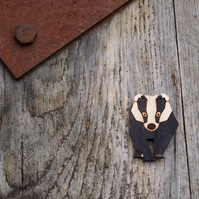 Badger, wooden brooch, laser cut jewellery.