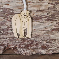 Polar bear, Christmas tree decoration, laser cut.