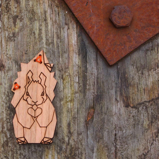 Squirrel, animal, wildlife brooch, cherrywood, laser cut jewellery.