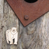 Polar bear, winter wildlife brooch, with stitch, laser cut jewellery.