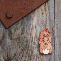 Squirrel, animal, wildlife brooch, wooden, laser cut jewellery.