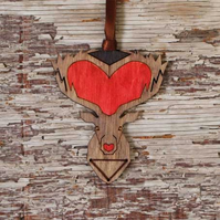 Christmas tree deer decoration, laser cut.