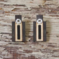 Wooden earrings, rectangle, black and white.