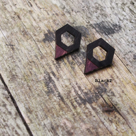 Hexagon Triangle Earrings, wooden, laser cut jewellery.