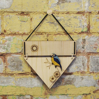 Bird, Bluetit, wooden, laser cut wall hanging. Artwork.