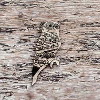 Owl, quirky autumnal brooch, laser cut jewellery.