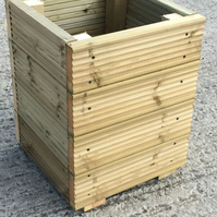Decking Wooden Garden Planter Storage Box Seat - Large Square 400mm Wide