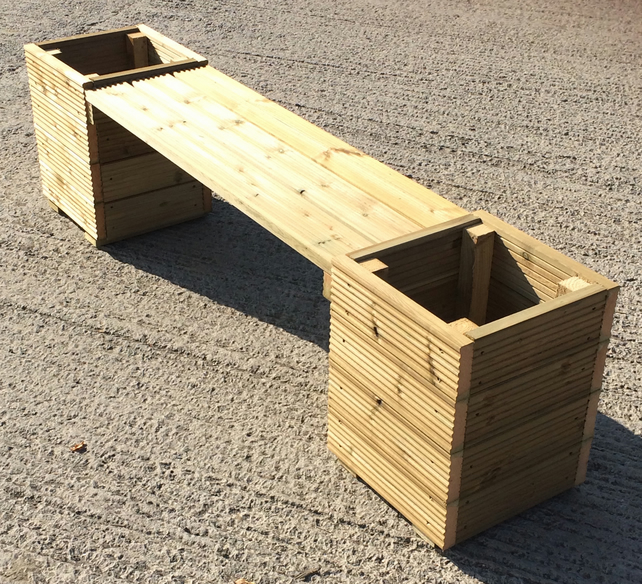 Large Square Decking Wooden Garden Planter & Bench Combination - 2m Total Length