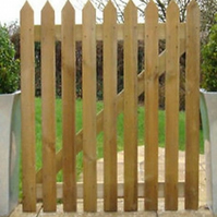 Picket Gate 3ft x 3ft Pointed Top Treated Wooden Garden Gates Wood High Quality