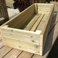 1.8m Wooden Planter Decking Garden Planters 400mm W X 240mm H