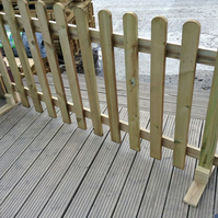 Portable Wooden Picket Fence Panel 6ft Wide x 2ft High