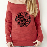 "Womens Red Marbled Wide Neck Super Soft Sweatshirt with ""Floral Tattoo"" Print"