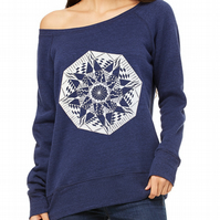 "Womens Navy Blue Wide Neck Super Soft Sweatshirt with ""Dream""  Printed"