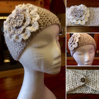Large adult head or ear warmer with flower