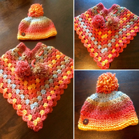 Crochet Poncho and Hat Set