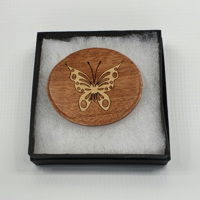 Intricate Wooden Butterfly Brooch, Shawl Pin, Mothers Day Gift