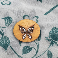 The Butterfly Wooden Mirror Brooch, Shawl Pin