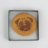 The Curious Pug Brooch, Shawl Pin, Wooden Pug Brooch, Mothers Day Gift
