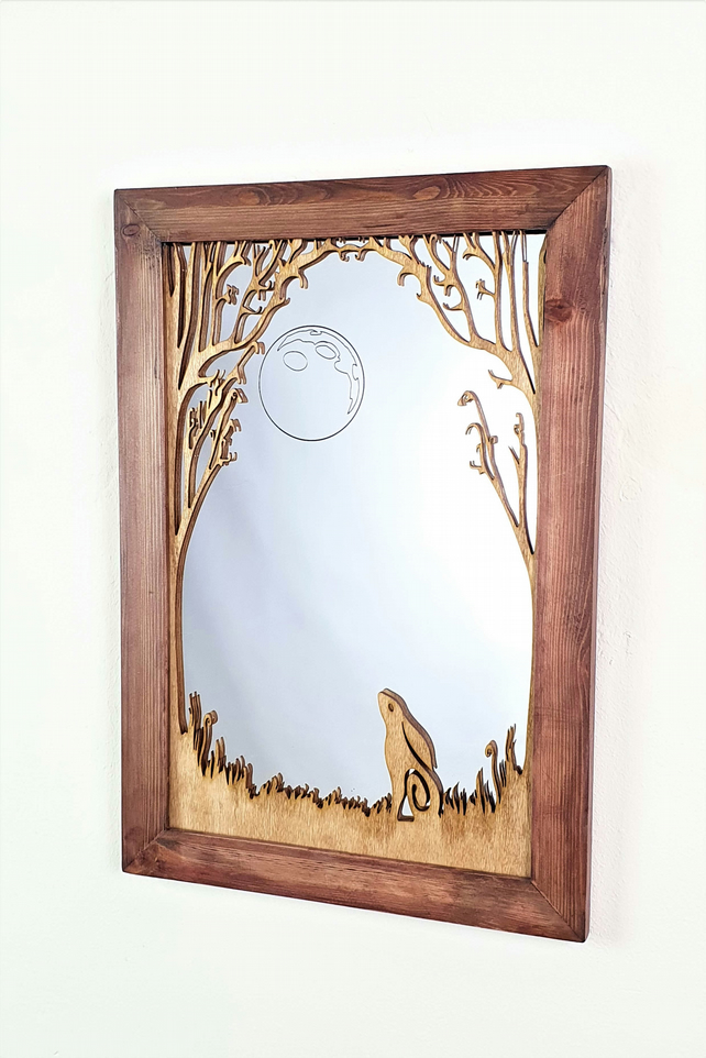 The Moon Gazing Hare Mirror, Wall Mirror