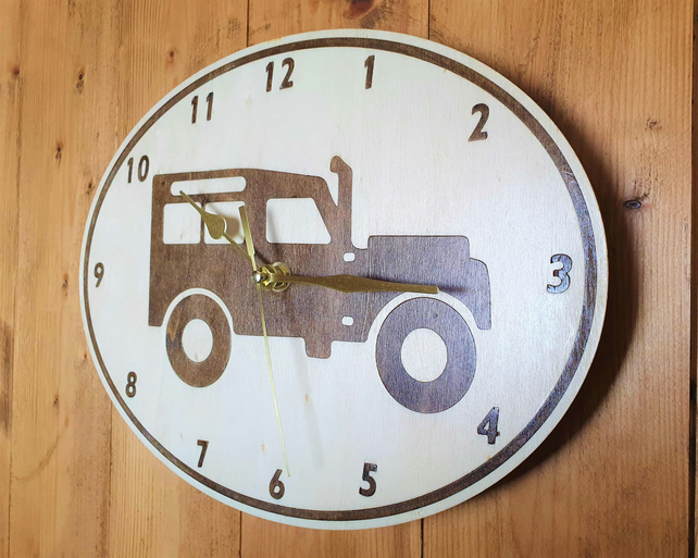 Classic Land Rover Style Wooden Clock, Wall Clock, Garage Clock, Man Cave