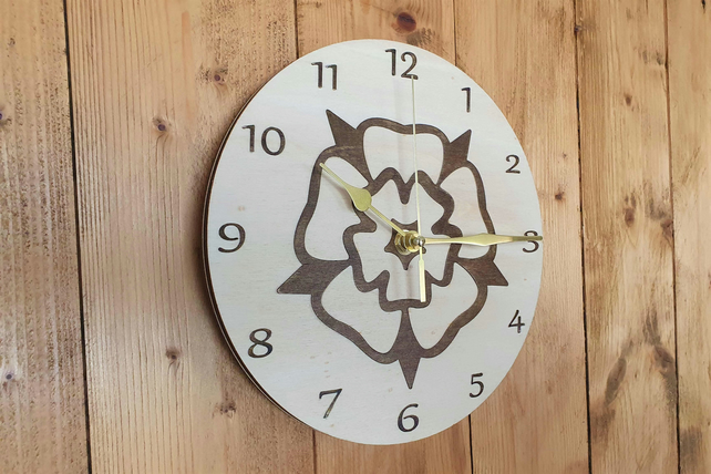 The White Rose Clock,  Yorkshire Rose, Wall Clock, Wooden Clock