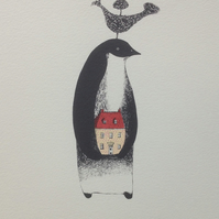 Penguin House screen print
