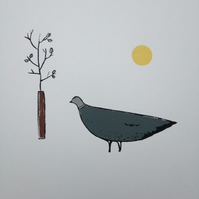 Pigeon and Sapling screen print