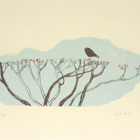 Bird and Hedgerow screen print