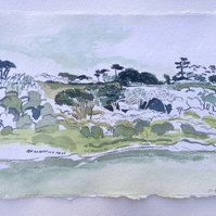 Helford River gouache painting