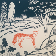 Fox and larch (screen print)