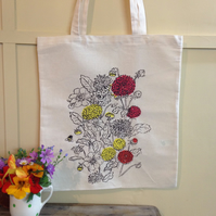 Screen printed cotton tote bag