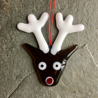 Recycled Fused Glass Christmas Decoration Rudolph Reindeer The Jewellery Boat ®