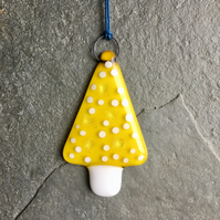 Fused Glass Christmas Tree decoration - Yellow Glass Tree The Jewellery Boat ®
