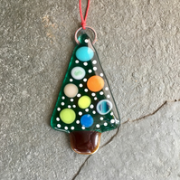 Recycled Fused Glass Christmas Tree decoration Spotty Snowy The Jewellery Boat ®