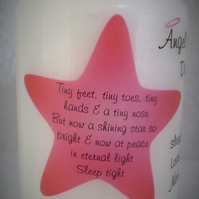 Babyloss Remembrance Memorial Angel Candle Star Personalised