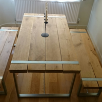 Hand Made English Oak and steel industrial Dining table