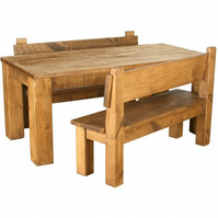 Rustic Plank Pine Furniture New Real Solid Wood Dining Table & Benches Set