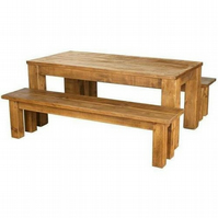 Rustic Plank Pine Furniture Dining Table and benches set indigo furniture