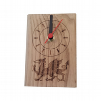 Small standing solid oak clock with Welsh Dragon design