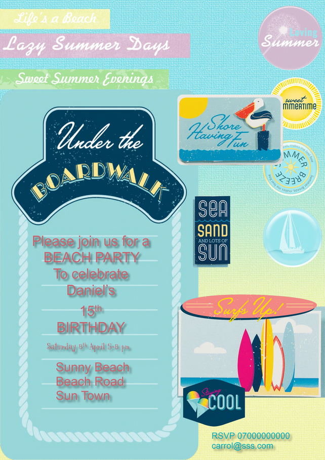 Printable Personalised  Surfs Up Beach Party Invitation