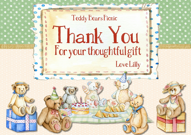 Printable  Teddy Bears PicnicThank You Note