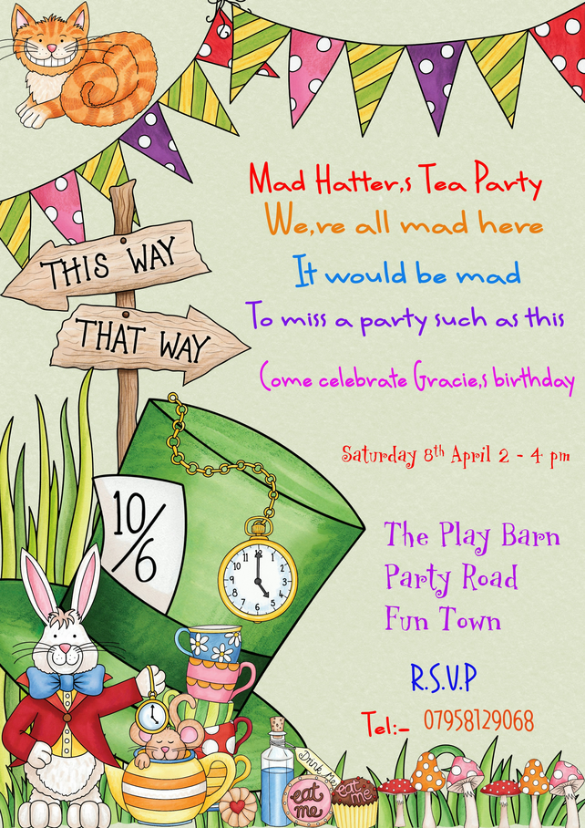 Printable Personalised  Mad Hatter  Party Invitation