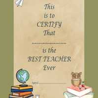 Printable Best Teacher Award