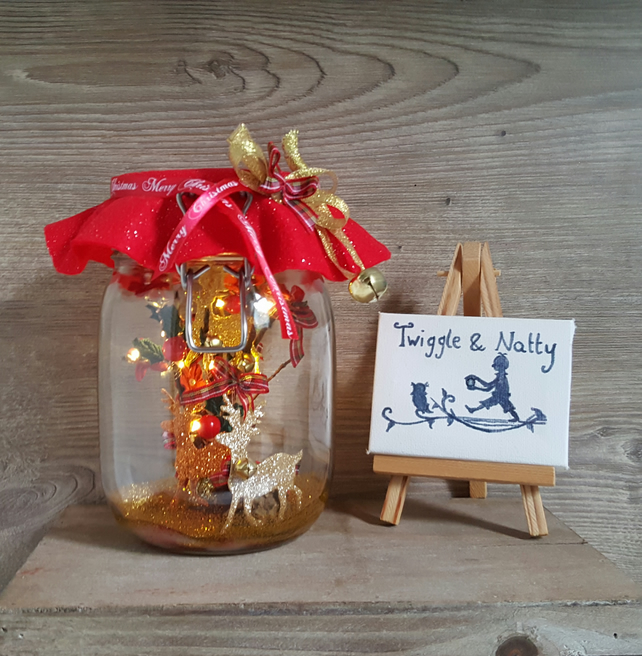 Christmas Reindeer Light Jar