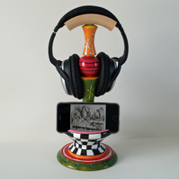 Wooden headphone, phone, smartphone Stand, ideal present, Alice in Wonderland